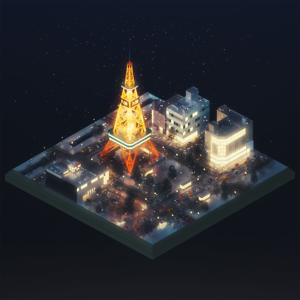 Sapporo city isometric animation