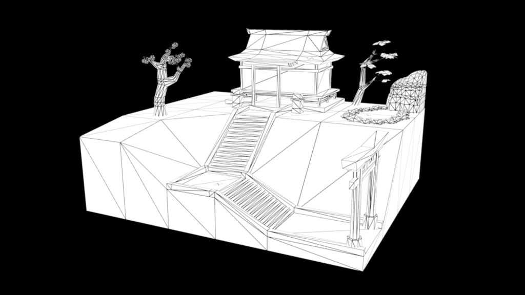 Autumn Shrine wireframe