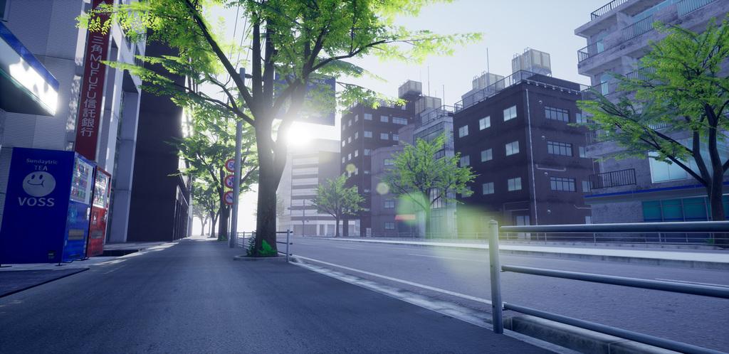 MAYA, UE4 で作成した日本のビル街