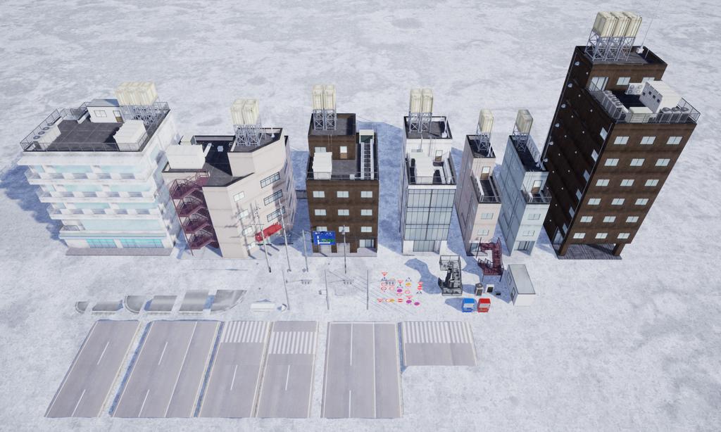 MAYA, UE4 で作成した日本のビル街のモジュールなど