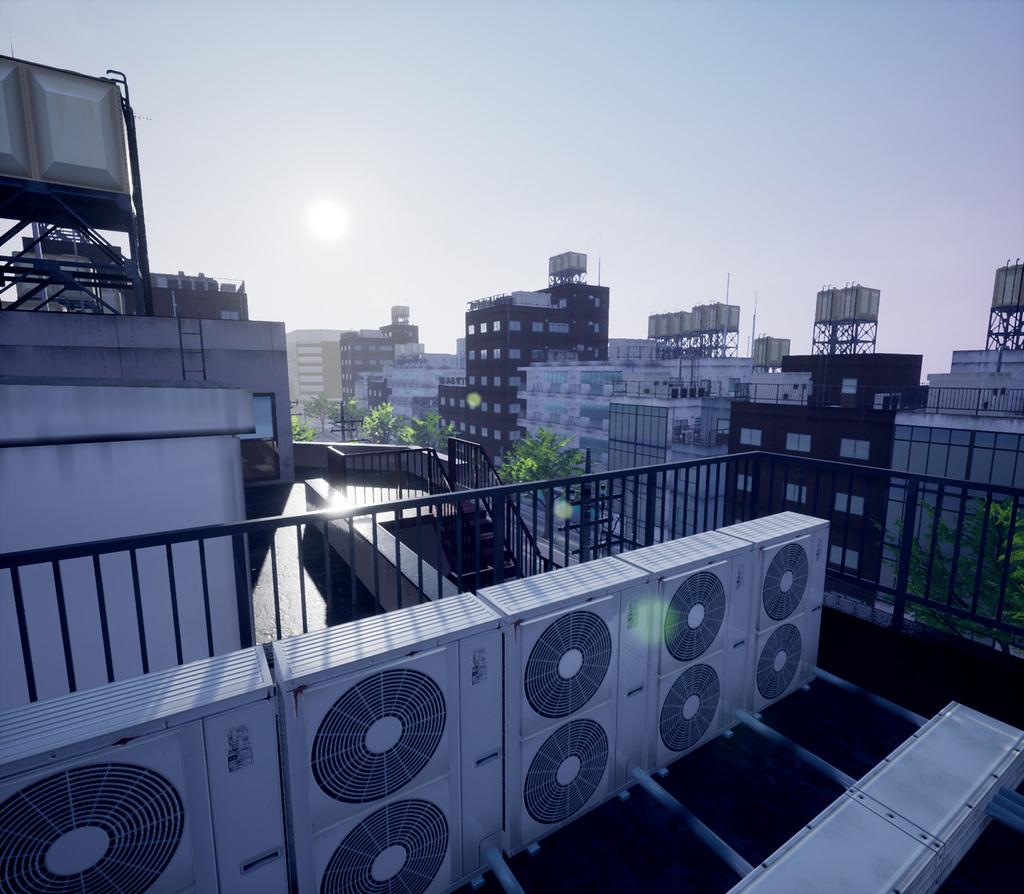 MAYA, UE4 で作成した日本のビル街の屋上風景