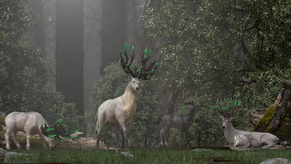 世界樹に棲む鹿