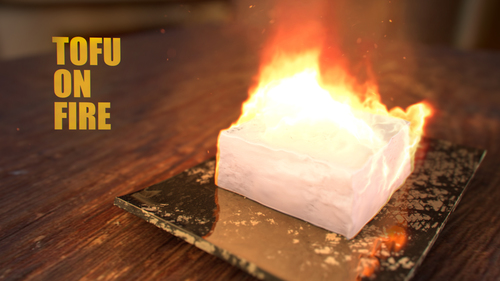 Medium large tofu on fire